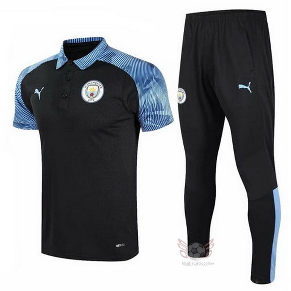 Maglie Originali Calcio PUMA Set Completo Polo Manchester City 20 21 Blu Nero