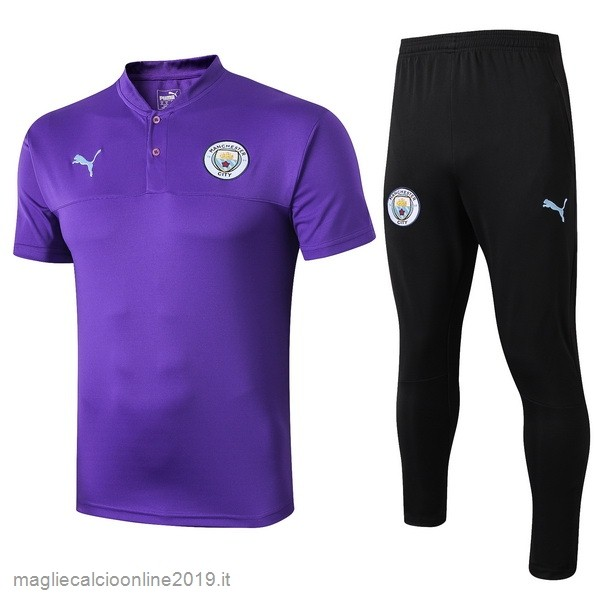 Maglie Originali Calcio PUMA Set Completo Polo Manchester City 2019 2020 Purpureo