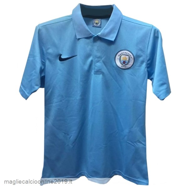 Maglie Originali Calcio Nike Polo Manchester City 17-18 Blu