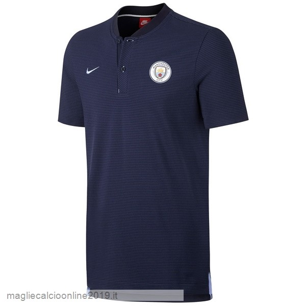 Maglie Originali Calcio Nike Polo Manchester City 17-18 Blu Navy