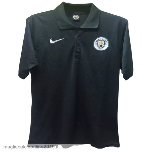 Maglie Originali Calcio Nike Polo Manchester City 17-18 Nero